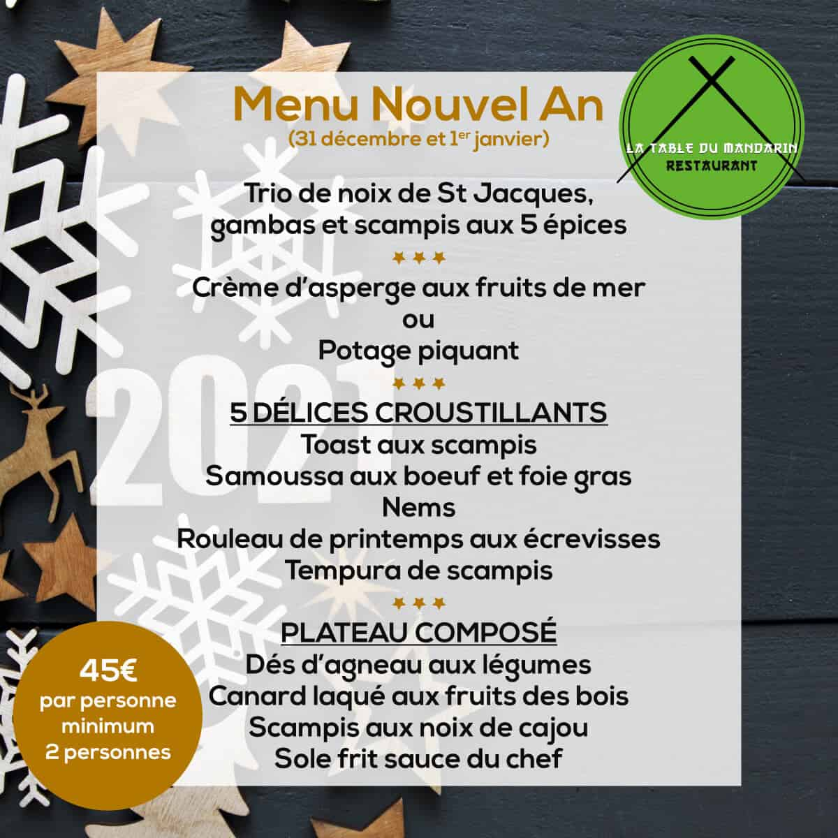 Menu Nouvel An 2020-2021